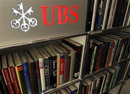 A UBS logo is seen in the UBS museum in Basel February 23, 2012. REUTERS/Ruben Sprich