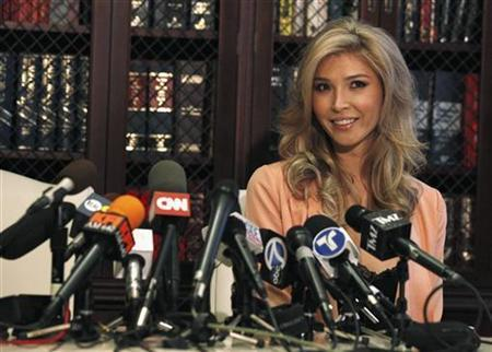 Canadian model Jenna Talackova attends a news conference in Los Angeles, California April 3, 2012. REUTERS/Mario Anzuoni