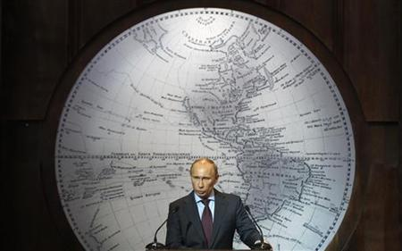 Russian Prime Minister and President-elect Vladimir Putin makes a speech to the Russian Geographical Society in St. Petersburg April 10, 2012. REUTERS/Alexander Demianchuk