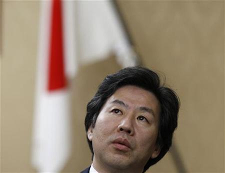 Japan's Finance Minister Jun Azumi speaks during a group interview at his ministry in Tokyo April 11, 2012. REUTERS/Toru Hanai