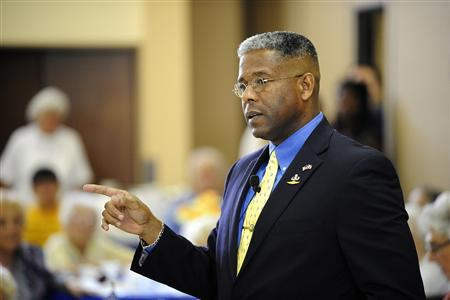 U.S. Representative Allen West (R-FL) speaks at the Mae Volen Senior Center in Boca Raton, Florida, in this file image from August 12, 2011. REUTERS/Doug Murray/Files