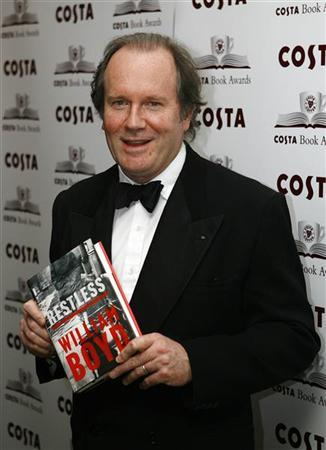 Author William Boyd poses with his book ''Restless'' at the Costa Book Awards at the Grosvenor House Hotel in London February 7, 2007. REUTERS/Stephen Hird