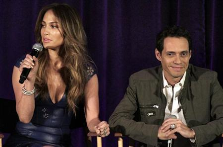 Jennifer Lopez and Marc Anthony take part in a panel discussion for the new Univision show, ''Q'Viva! The Chosen'', during the TCA Winter Press Tour in Pasadena, California, January 14, 2012. REUTERS/Jonathan Alcorn