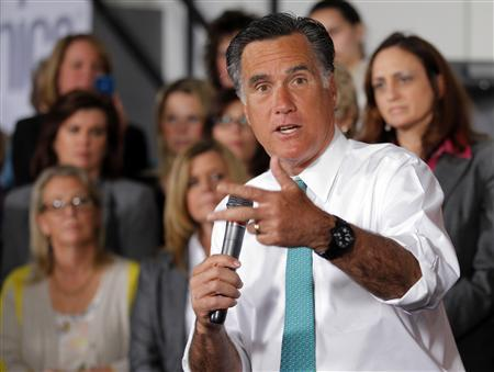 Republican presidential candidate and former Massachusetts Governor Mitt Romney speaks during a campaign stop at Alpha Graphics in Hartford, Connecticut April 11, 2012. REUTERS/Brian Snyder
