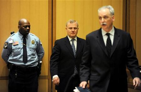 Morgan Stanley investment banker William Bryan Jennings (C) and his attorney, Eugene Riccio (R), attend a hearing at State Superior Court in Stamford, Connecticut March 9, 2012. REUTERS/Lindsay Niegelberg/Pool