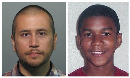 Headshots of neighborhood watch volunteer George Zimmerman (R) who has been charged with second-degree murder of unarmed black teenager Trayvon Martin (L) are seen in this combination photograph from a Seminole County, Florida, Sheriff's Office booking photograph taken on April 11, 2012 and an undated handout photo released by the Martin family public relations representative. REUTERS/Handouts