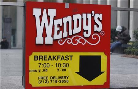 A Wendy's sign is seen outside the fast food restaurant in New York, March 4, 2010. REUTERS/Shannon Stapleton
