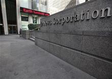 A sign is seen in front of the the NewsCorp building in New York February 8, 2012. REUTERS/Brendan McDermid