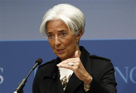 International Monetary Fund Managing Director Christine Lagarde speaks at the Brookings Institution on ''Seizing the Moment: Thinking Beyond the Crisis'' in Washington April 12, 2012. REUTERS/Kevin Lamarque