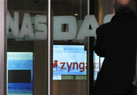 The corporate logo for Zynga is seen on a screen at the Nasdaq Market Site in New York, December 16, 2011. REUTERS/Brendan McDermid