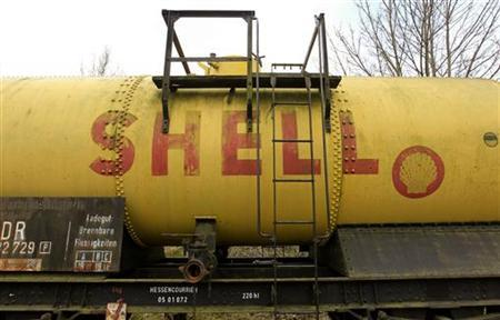 An old Shell logo is seen on a vintage fuel wagon at a museum railway station in the town of Naumburg in northern Hesse March 17, 2012. REUTERS/Arnd Wiegmann