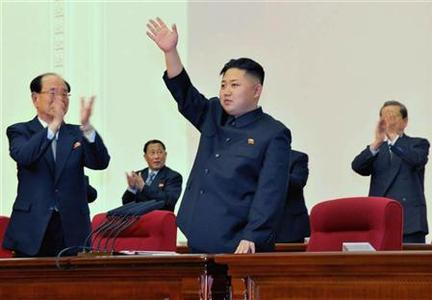 North Korean leader Kim Jong-Un (C) waves during the Fourth Conference of the Workers' Party of Korea (WPK) in Pyongyang April 11, 2012, and released on April 12, 2012. WPK named Kim as ''first secretary,'' on Wednesday, the official KCNA news agency said. REUTERS/KCNA