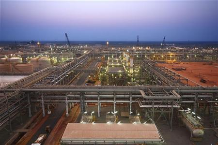 India's Reliance Industries' KG-D6 facility located in the Indian state of Andhra Pradesh is pictured in this undated handout photo. REUTERS/Reliance Industries/Handout