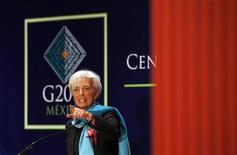 Christine Lagarde, Managing Director of the International Monetary Fund (IMF), gestures during a news conference at the meeting of finance ministers and central bankers from the Group of 20 top economies in Mexico City February 26, 2012. REUTERS/Edgard Garrido