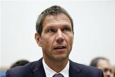 Rene Obermann, CEO of Deutsche Telekom, participates in a U.S. House Judiciary Committe hearing on the proposed merger between AT&T and T-Mobile on Capitol Hill in Washington, May 26, 2011. REUTERS/Jason Reed