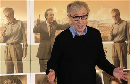 U.S. director Woody Allen gestures during a photocall for the film'' To Rome with Love'' in Rome, April 13, 2012. REUTERS/Stefano Rellandini