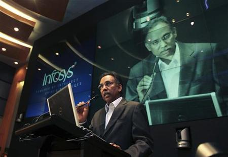 S.D. Shibulal, chief executive officer of Infosys, speaks during the announcement of the company's quarterly financial results at their headquarters in Bangalore April 13, 2012. REUTERS/Stringer