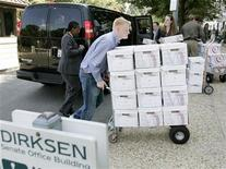 The boxes containing pages of presidential records from the files of Supreme Court nominee John Roberts are wheeled into the Dirksen Senate Office Building, after they were released to the Senate Judiciary Committee from the National Archives and Records Administration, on Capitol Hill, August 18, 2005. REUTERS/Larry Downing