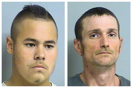 Alvin Lee Watts, 32, (R) and Jacob Carl England, 19, are seen in a combination of undated pictures released to Reuters by Tulsa County Sheriff's Office April 8, 2012. REUTERS/Tulsa County Sheriff's Office/Handout