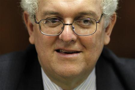 The World Bank presidential nominee Jose Antonio Ocampo of Colombia is seen during a meeting with Brazil's Finance Minsiter Guido Mantega at the Ministry of Finance in Brasilia April 12, 2012. REUTERS/Ueslei Marcelino
