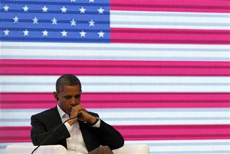 President Barack Obama participates in the CEO Summit of the Americas in Cartagena April 14, 2012. REUTERS/Kevin Lamarque