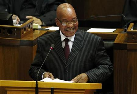 South African President Jacob Zuma delivers his State of the Nation address at Parliament in Cape Town February 9, 2012. REUTERS/Mike Hutchings/Files
