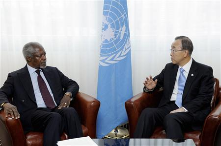 United Nations Secretary-General Ban Ki-moon (R) meets with Special Joint U.N.-Arab League Envoy Kofi Annan in Geneva April 14, 2012, as the U.N. Security Council unanimously approved the deployment of the first wave of U.N. military observers to monitor a cease-fire between the Syrian government and the opposition. REUTERS/Evan Schneider/UN Photo/Handout
