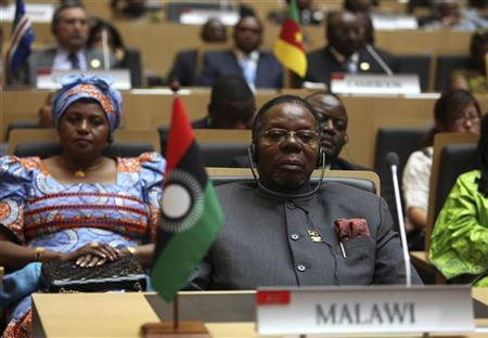 Malawi President Bingu wa Mutharika is seen during the 18th African Union (AU) summit in Ethiopia's capital Addis Ababa January 28, 2012. President Mutharika has died after a heart attack, medical and government sources said on April 6, 2012. Picture taken January 28, 2012. REUTERS/Noor Khamis