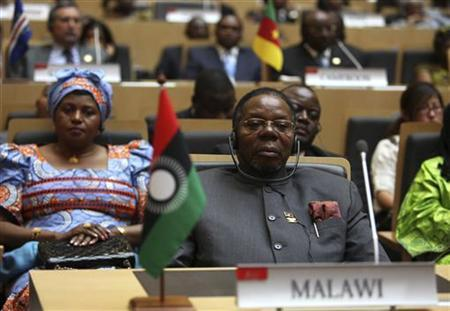 Malawi President Bingu wa Mutharika is seen during the 18th African Union (AU) summit in Ethiopia's capital Addis Ababa January 28, 2012. President Mutharika has died after a heart attack, medical and government sources said on April 6, 2012. REUTERS/Noor Khamis