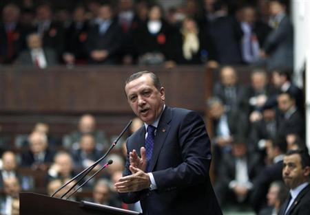 Turkey's Prime Minister Tayyip Erdogan addresses members of parliament from his ruling AK Party (AKP) during a meeting at the Turkish parliament in Ankara March 6, 2012. REUTERS/Umit Bektas