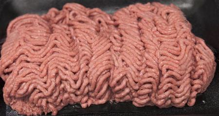 The beef product known as pink slime or lean finely textured beef is displayed on a tray during a tour March 29, 2012, of the Beef Products Inc.'s plant in South Sioux City, Nebraska, where the product is made. REUTERS/Nati Harnik/Pool