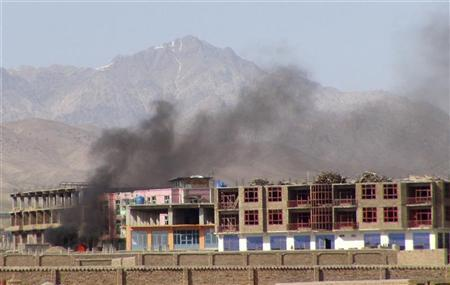Smoke rises from the site of an attack in Paktia province April 15, 2012. REUTERS/Stringer