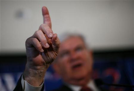 Republican presidential candidate and former House Speaker Newt Gingrich gestures during during his victory speech at his South Carolina Primary election night rally in Columbia, South Carolina, January 21, 2012. REUTERS/Eric Thayer