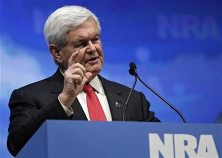 U.S. Republican presidential hopeful Newt Gingrich speaks at the Celebration of American Values Leadership Forum during the National Rifle Association's (NRA) 141st Annual Meetings & Exhibits in St. Louis, Missouri April 13, 2012. REUTERS/Tom Gannam