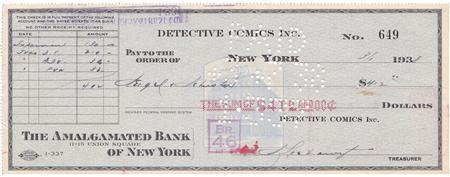 A check from DC Comics for $130 issued on March 1, 1938 for the rights to a comic character named Superman is seen in this undated handout image. REUTERS/ComicConnect/Handout