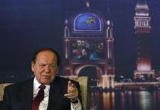 Las Vegas Sands Chairman and CEO Sheldon Adelson speaks during a news conference at Sands Cotai Central, Sands' newest integrated resort in Macau April 11, 2012. REUTERS/Tyrone Siu