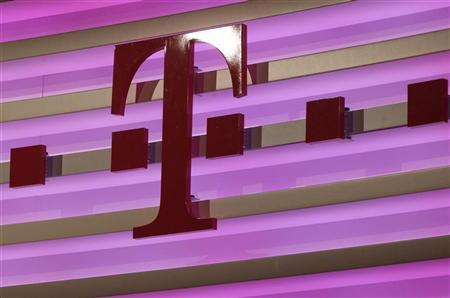 The logo of Deutsche Telekom is pictured during the annual news conference in Bonn February 23, 2012. REUTERS/Ina Fassbender