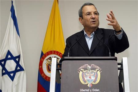 Israel's Defense Minister Ehud Barak speaks during a news conference with his Colombian counterpart Juan Camilo Pinzon (not pictured) in Bogota April 16, 2012. REUTERS/Fredy Builes