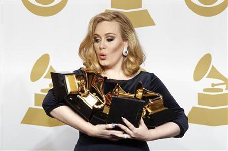 Singer Adele holds her six Grammy Awards at the 54th annual Grammy Awards in Los Angeles, California February 12, 2012. REUTERS/Lucy Nicholson
