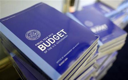 Copies of U.S. President Barack Obama's Fiscal Year 2013 budget are seen stacked on the floor of the House Budget Committee room on Capitol Hill in Washington February 13, 2012. REUTERS/Larry Downing