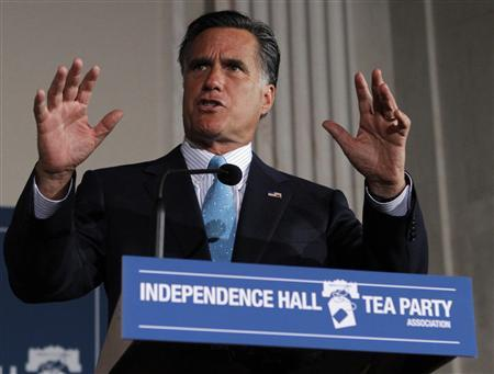 U.S. Republican presidential candidate and former Governor of Massachusetts Mitt Romney speaks during the Independence Hall Tea Party Association's Tax Day Tea Summit at the Franklin Institute in Philadelphia, Pennsylvania April 16, 2012. REUTERS/Tim Shaffer
