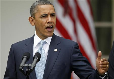 U.S. President Barack Obama makes a statement announcing a plan to crack down on manipulation in oil markets, in the Rose Garden of the White House in Washington, April 17, 2012. REUTERS/Jason Reed
