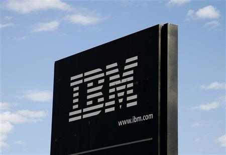 The sign at the IBM facility near Boulder, Colorado is pictured in this September 8, 2009 file photograph. A unit of Toshiba Corp is in talks to buy IBM Corp's point-of-sale terminal business, which includes cash registers, a source familiar with the deal said on April 17, 2012. IBM shares gained 1.2 percent to $205.18 to lead the Dow. REUTERS/Rick Wilking/Files