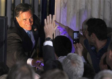 U.S. Republican presidential candidate and former Governor of Massachusetts Mitt Romney greets supporters during the Independence Hall Tea Party Association's Tax Day Tea Summit at the Franklin Institute in Philadelphia, Pennsylvania April 16, 2012. REUTERS/Tim Shaffer