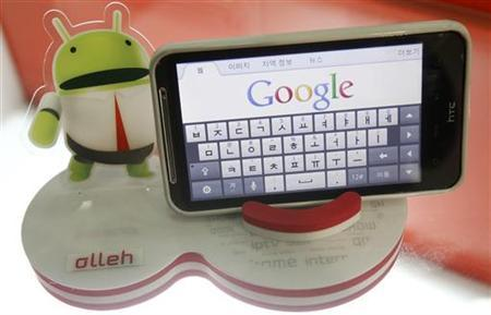 An Android smartphone displays the Google website in this picture illustration in Seoul September 7, 2011. REUTERS/Truth Leem/Files