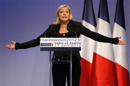 Marine Le Pen, the National Front party leader and their candidate for the 2012 French presidential election, attends a campaign rally in Paris April 17, 2012. REUTERS/Charles Platiau