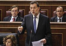 Spain's Prime Minister Mariano Rajoy speaks during question time at parliament in Madrid, April 11, 2012. REUTERS/Susana Vera
