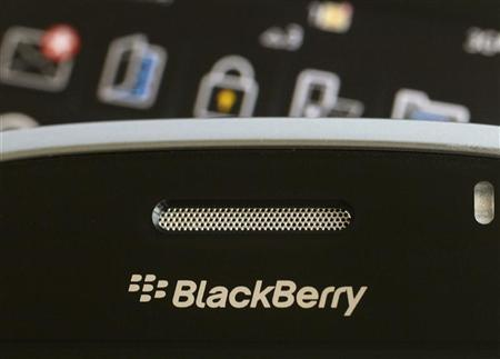 A Blackberry smartphone is displayed in this August 12, 2010 illustrative photo taken in Hong Kong. REUTERS/Bobby Yip/Files