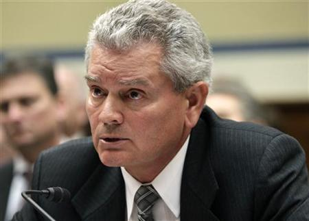 Jeff Neely of the General Services Administration (GSA) declines to testify before the House Oversight and Government Reform Committee hearing on ''Addressing GSA's Culture of Wasteful Spending'' on Capitol Hill in Washington April 16, 2012. REUTERS/Yuri Gripas