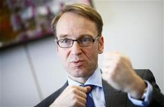 Jens Weidmann, President of German Bundesbank, answers reporter's questions during an exclusive interview with Reuters at the Bundesbank headquarters in Frankfurt, April 16, 2012.  REUTERS/Kai Pfaffenbach (GERMANY - Tags: BUSINESS POLITICS)